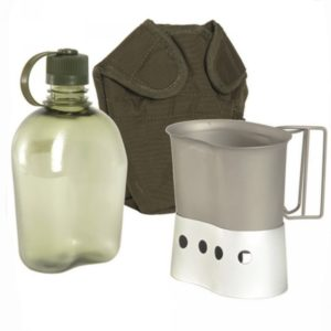 Vojaška čutara s posodo in podstavkom za kuhanje